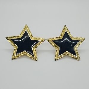 Vintage Escada Black and Gold Star Earrings